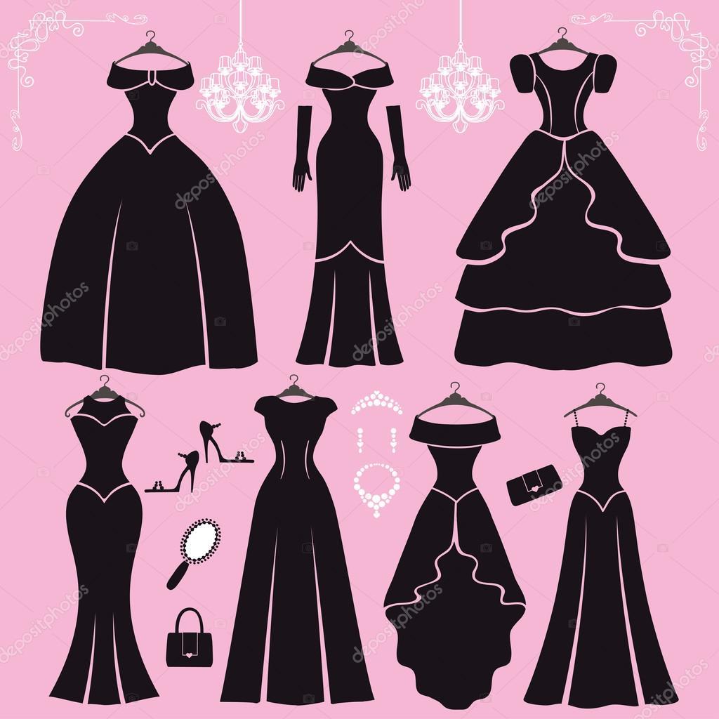 Verschiedene Arten von schwarze party Kleider — Stockfoto ...