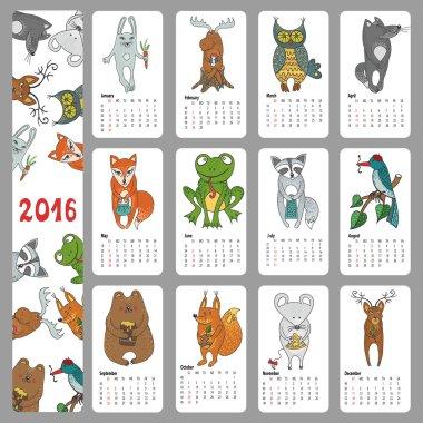 Calendar 2016.Wild animals