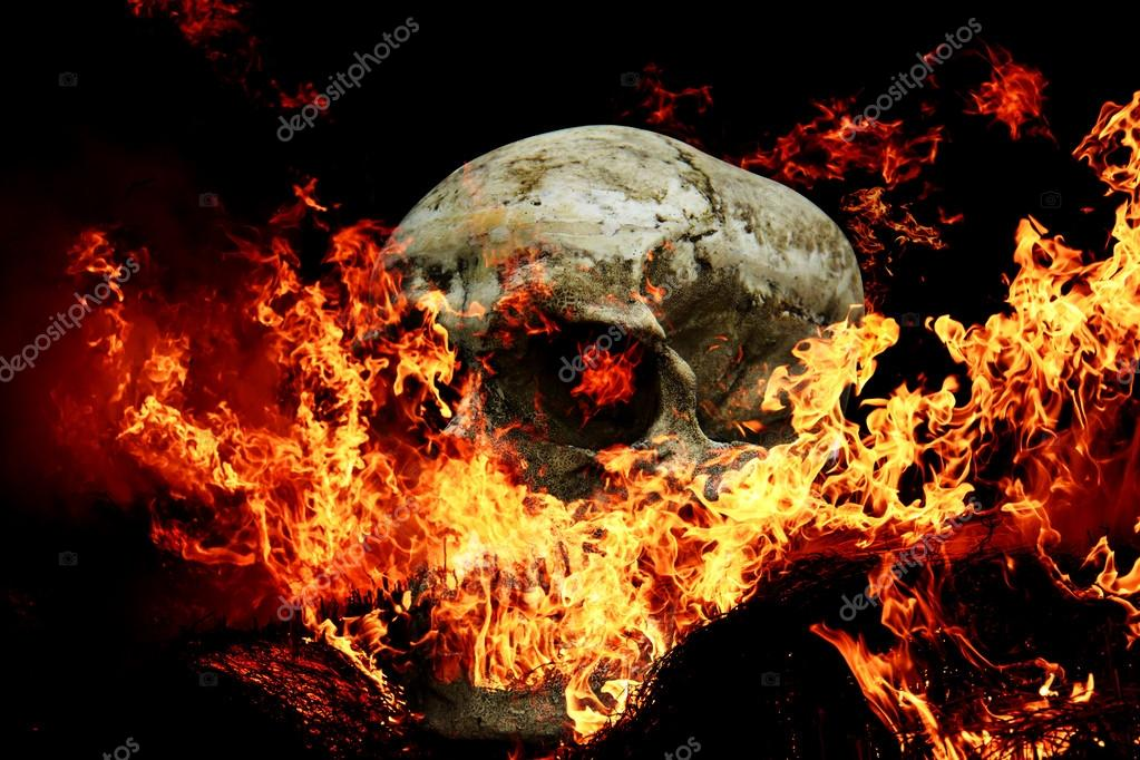 De Miedo Para Halloween De Calavera De Fuego