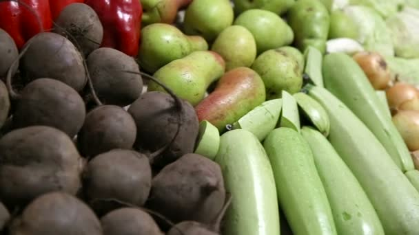 Variety of fresh fruits and vegetables for a healthy diet. Food close-up. Organic, natural fruits and vegetables, vegetarianism.