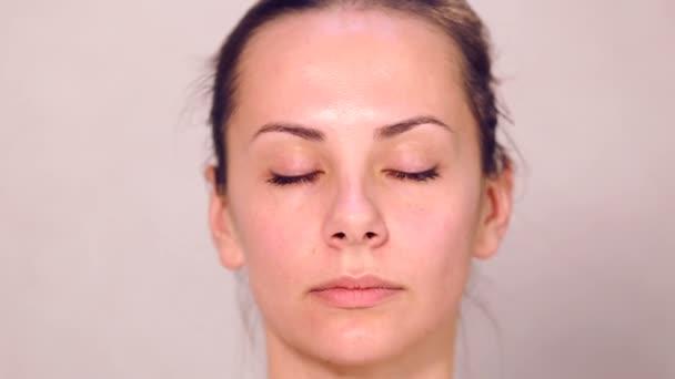 Maquiagem Cara Garota Close Up Retrato Da Menina Fechar Em Um Salao