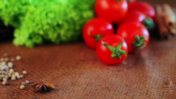 Složení z čerstvé zeleniny a koření. Čerstvá zelenina a koření zblízka. Zátiší zeleniny a koření pro reklamu. Čerstvé potraviny v studiu