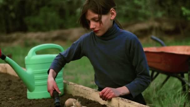 Kavkazské boy na posteli v zahradě. Dítě se zabývá jarní výsadby. Chlapec teenager v přírodě poblíž postele. Chlapec s semenáč v jejím hands.Organic zemědělství