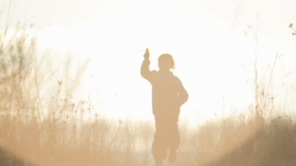 Šťastný chlapec hraje s hračkou pták. Hravé dítě s hračkou, při východu slunce. Silueta dítěte s hračkou v přírodě