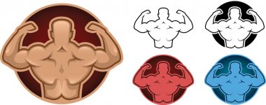 Bodybuilder back model illustration in five different colors