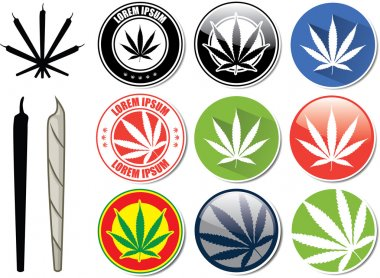 Vector set of marijuana and cannabis buttons