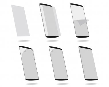 Black smart phones protection film on screen set different stage