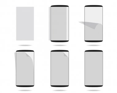 Black smartphones display with protector glass set different sta