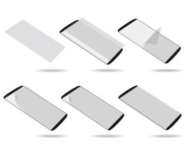 Black smartphones screen protector set different foreshortening