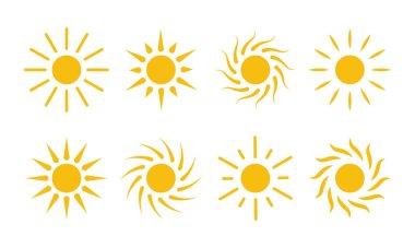 Sun icon vector. Cartoon simple flat design elements. icon