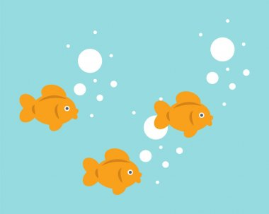 Sweet little goldfish are swimming. Cute fish vector illustration for babies. icon