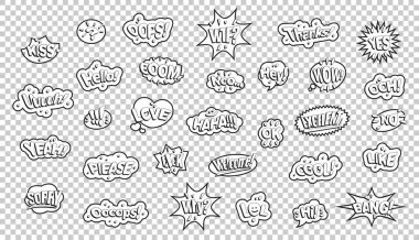 Black white comic style stickers. Slogans on a transparent background. icon