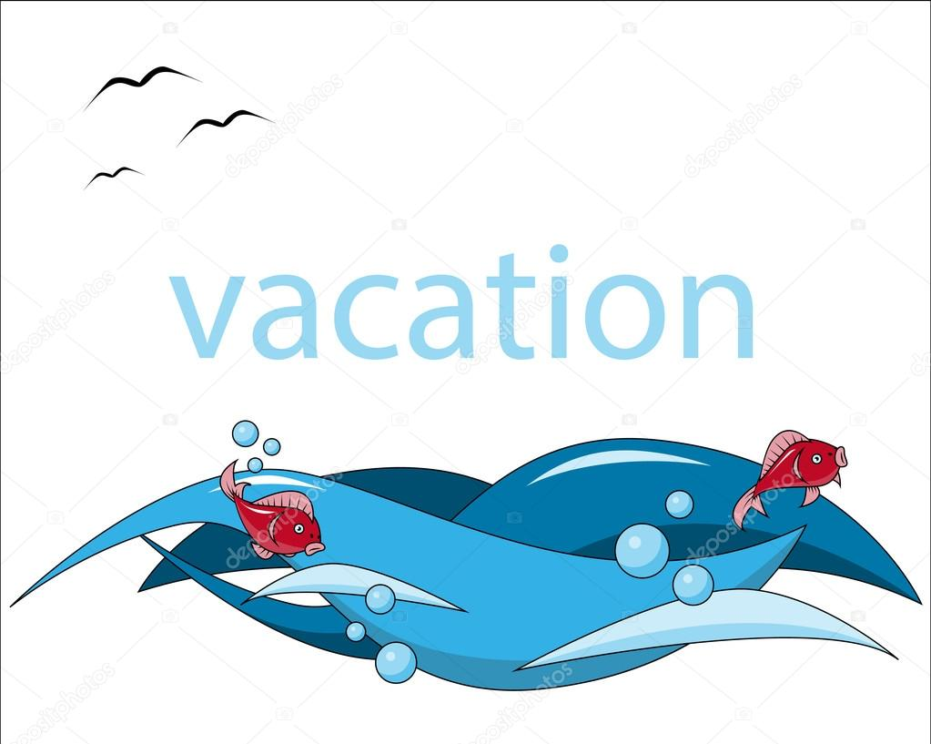 vacation background sea fish wave