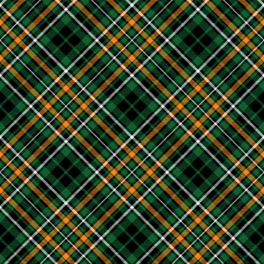 Green tartan celtic fc seamless pattern diagonal fabric texture. Vector illustration. EPS 10. No transparency. No gradients. stock vector