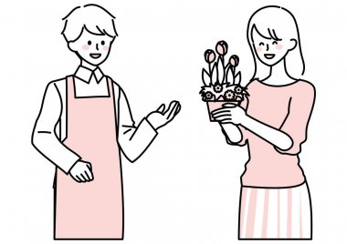 Illustration of a woman buying potted flowers