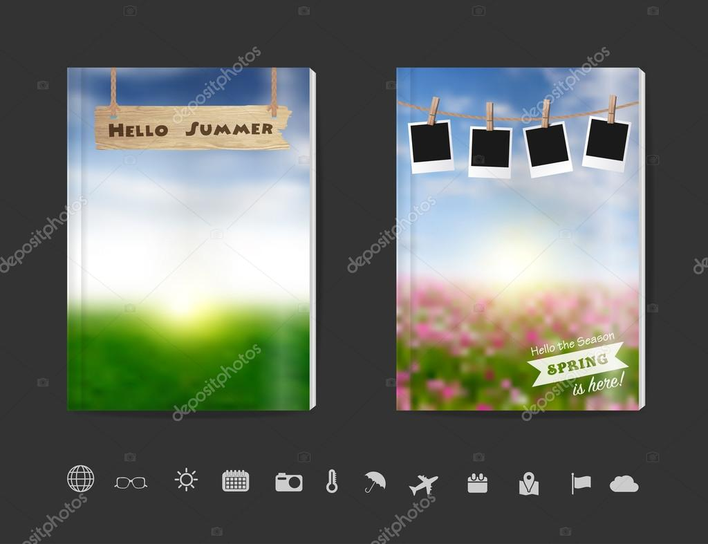 Blank book cover design with blurred nature sky grass field background