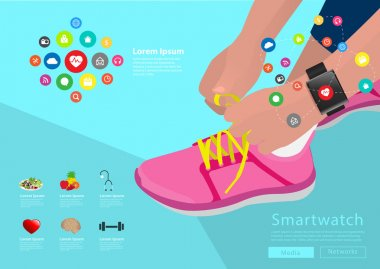 Sport woman hand tying shoelaces wearing touchscreen smartwatch