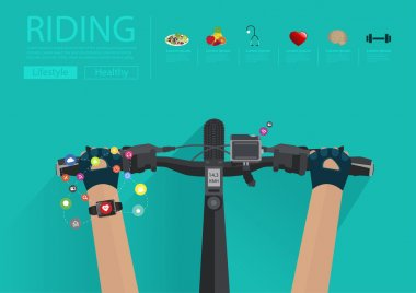 Hands riding a bike with wearing a smartwatch heart rate