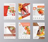 Fotografie Set of annual report brochure flyer design food blurred background