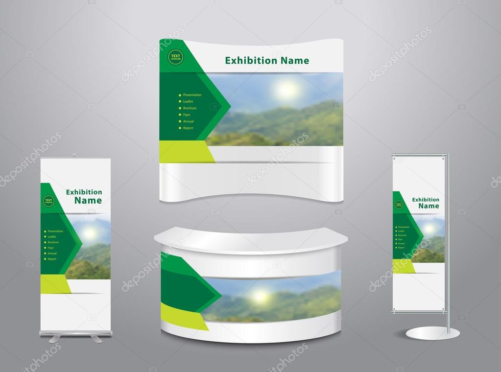 Set of trade exhibition stand with cover presentation mountain landscape background