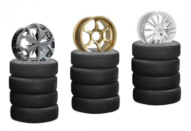 Car alloy wheels on pile tires