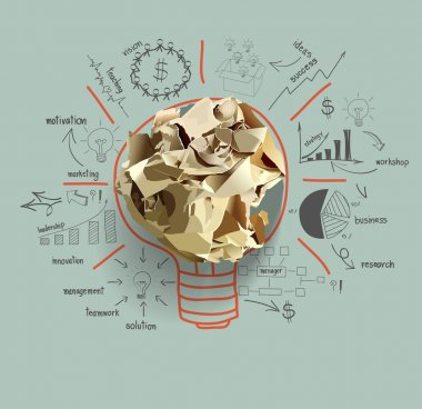 Light bulb crumpled paper with creative drawing business success
