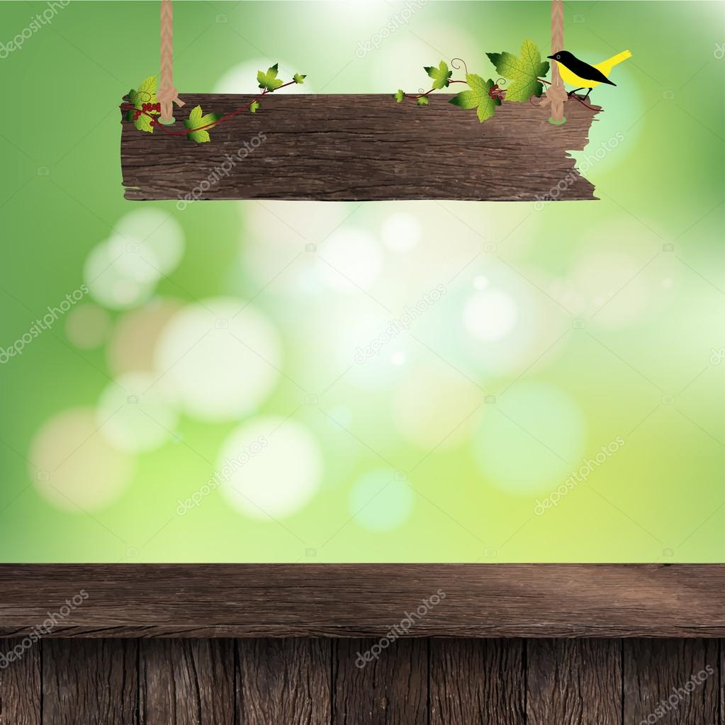 Wooden deck table with hanging wooden sign