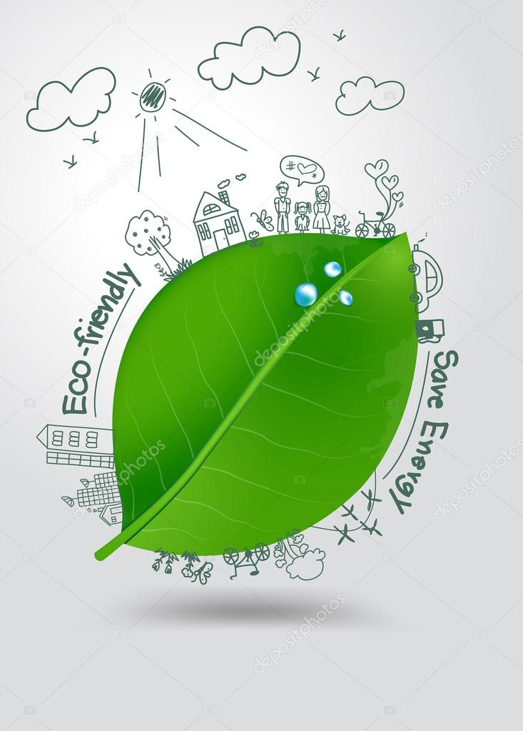 Ecology concept, Creative drawing on green leaf with water drops