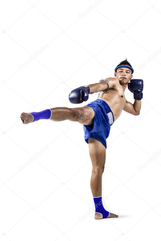Muay thai, Asian man exercising thai boxing