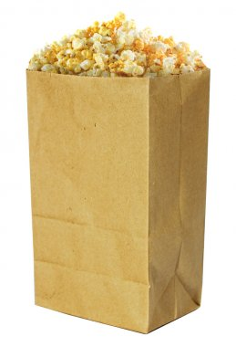 Golden popcorn in bag