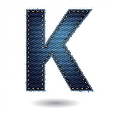 Denim alphabet letter K
