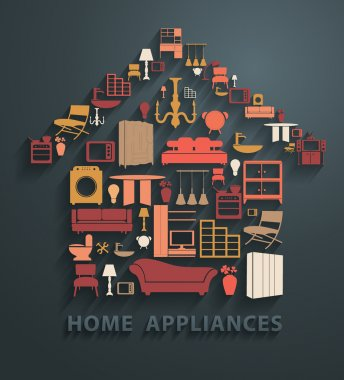 Home appliances icons in house shape, vector illustration clip art vector