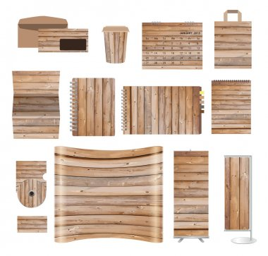 Corporate identity templates with texture of wood background