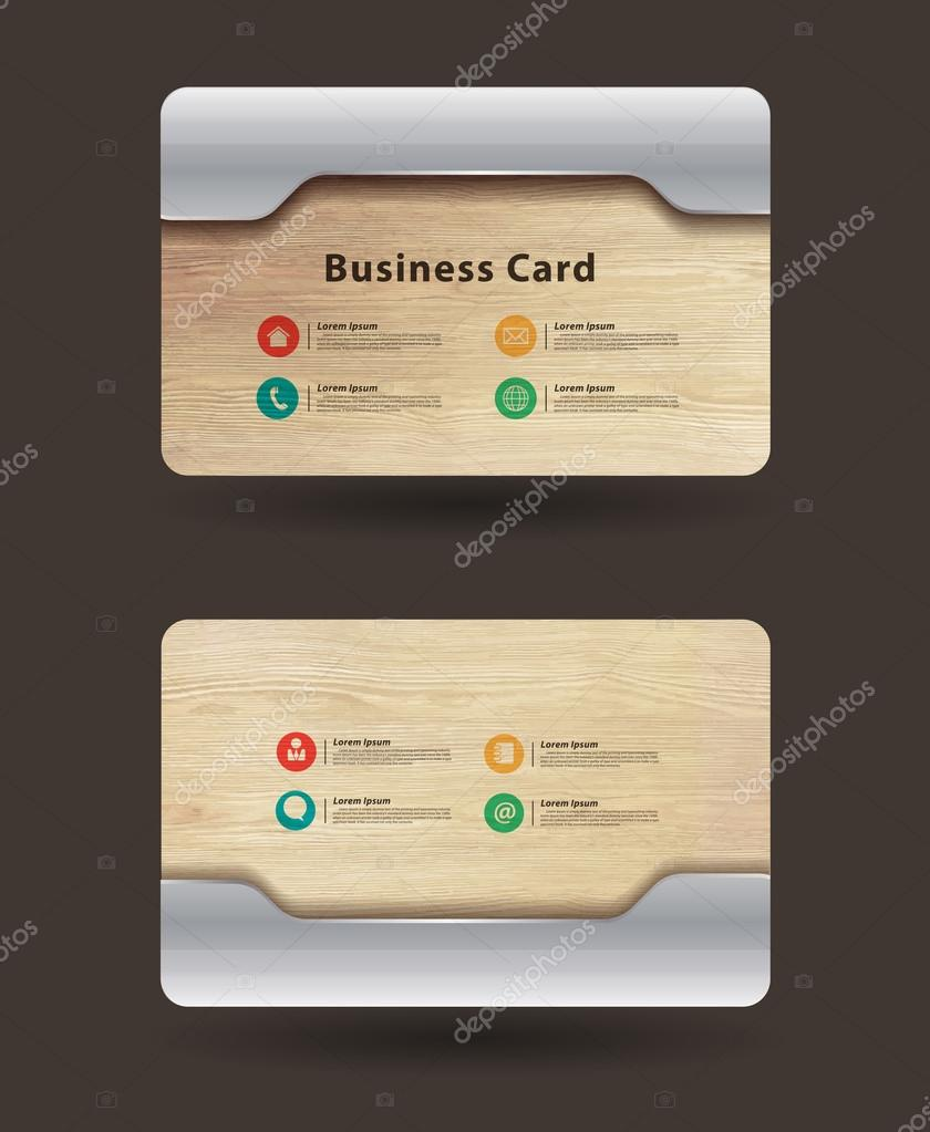 Business card template with wood texture and metal plate design business card template with wood texture and metal plate design stock vector reheart Choice Image
