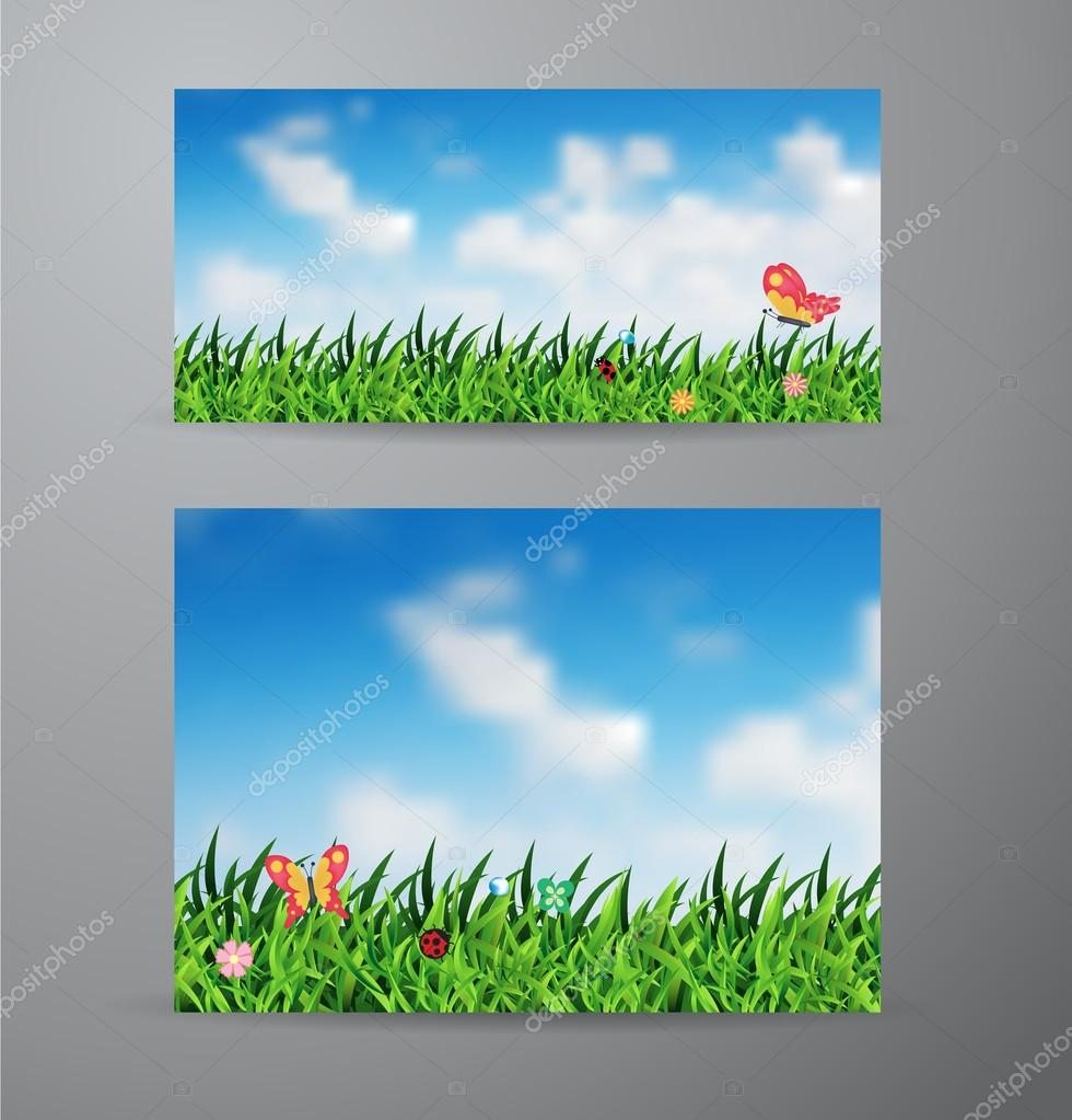 Vector field of green grass and sky background
