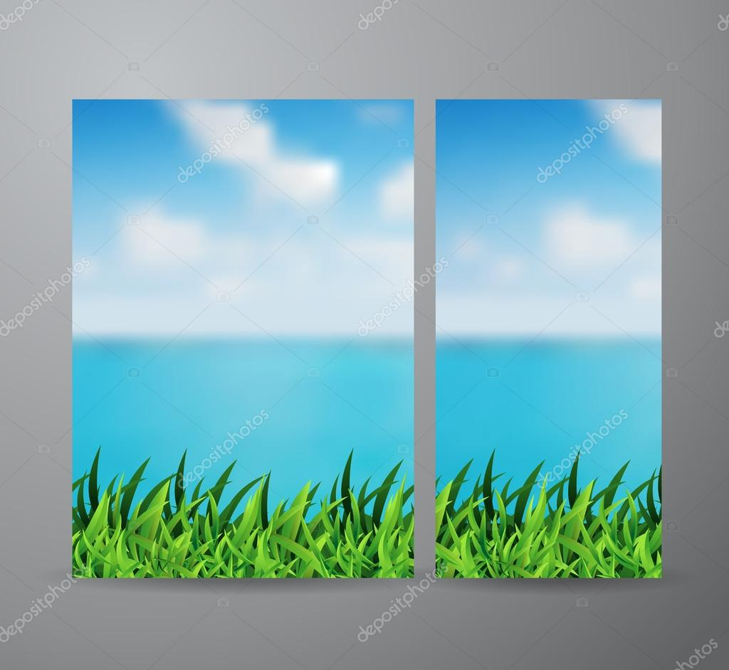 Vector green grass and beautiful sea view background