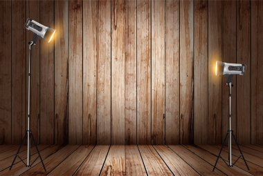 Vector photo studio in old wooden room