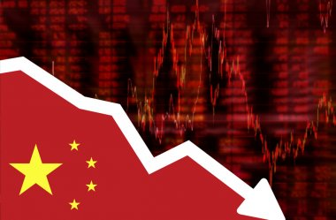 Stock exchange loss red screen with flag of China
