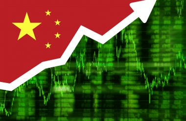Stock exchange shares up green screen with flag of China