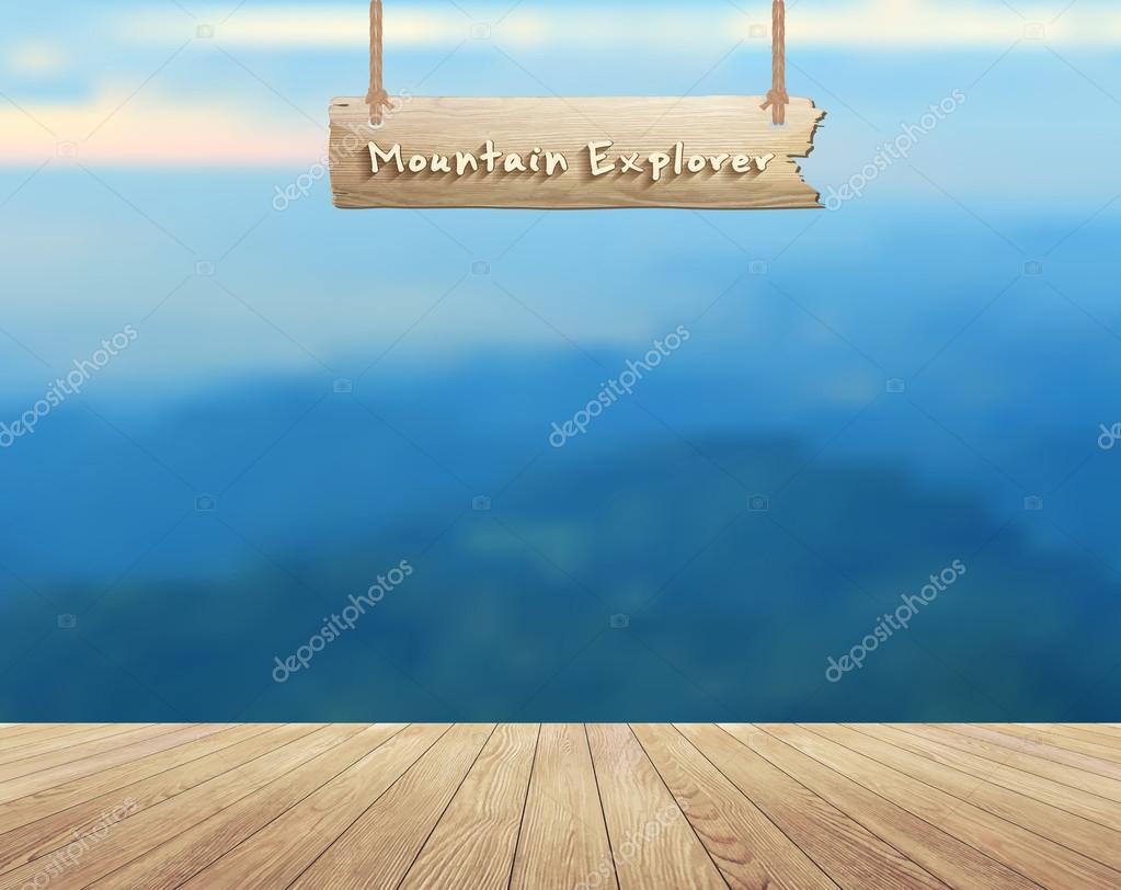 Mountain view summer landscape and wood planks floor background