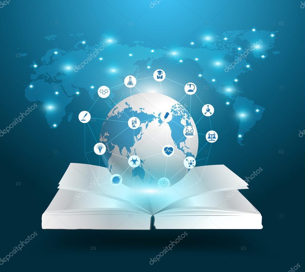 Open book and globe knowledge ideas concept