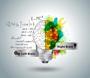 Creative concept of the human brain with light bulb ideas