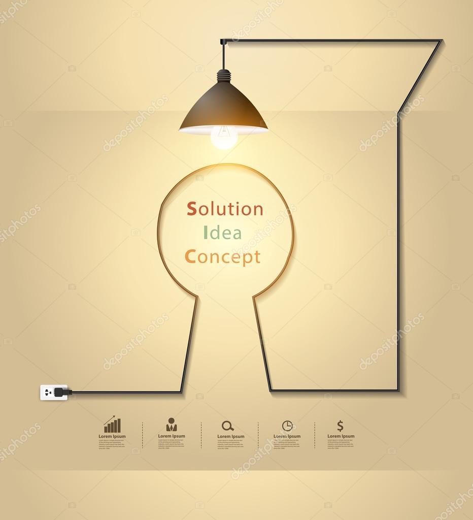 Creative keyhole with light bulb idea concept on wall room