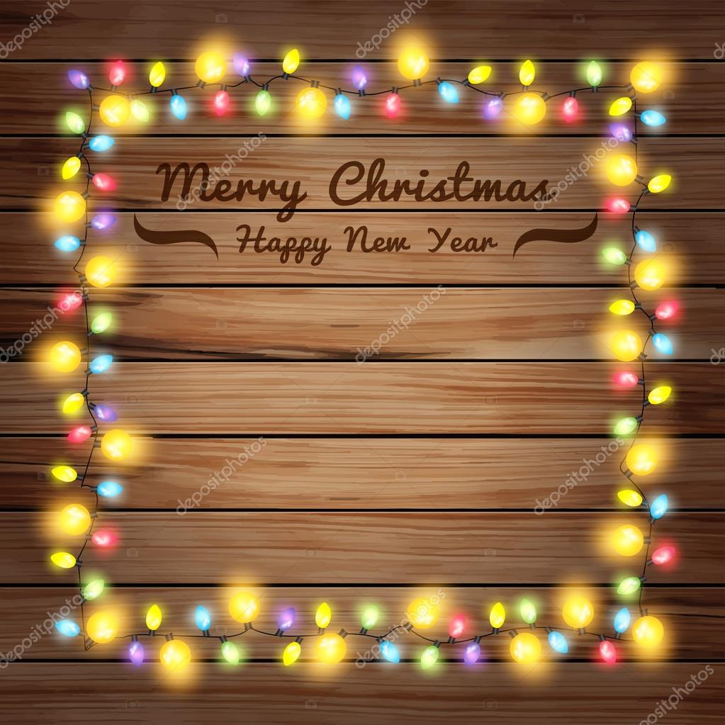 Christmas lights on wooden boards