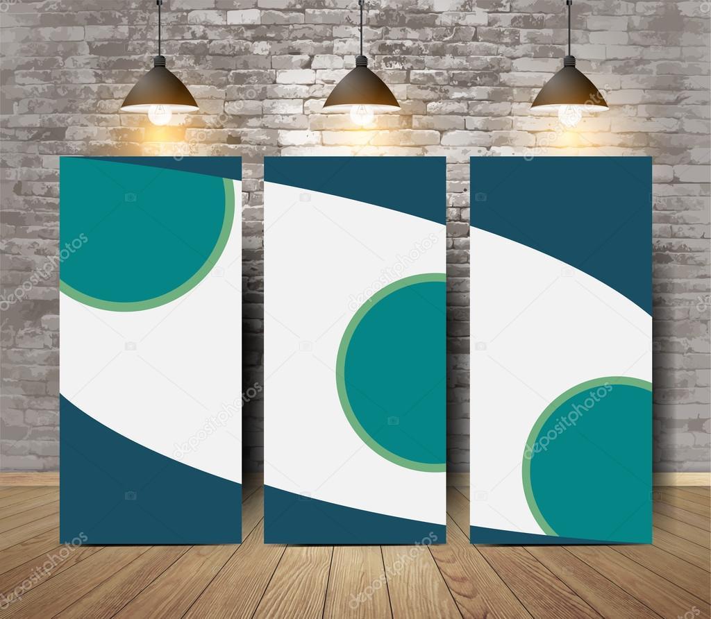 firmenposter tri fold brosch re im sprung durch die wand stockvektor koydesign 93166696. Black Bedroom Furniture Sets. Home Design Ideas