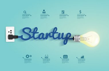 Startup concept with creative light bulb idea