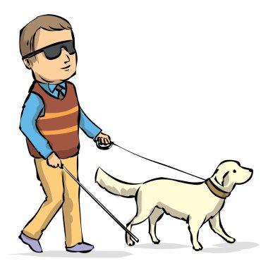 Seeing Eye Dog Guiding a Blind Man