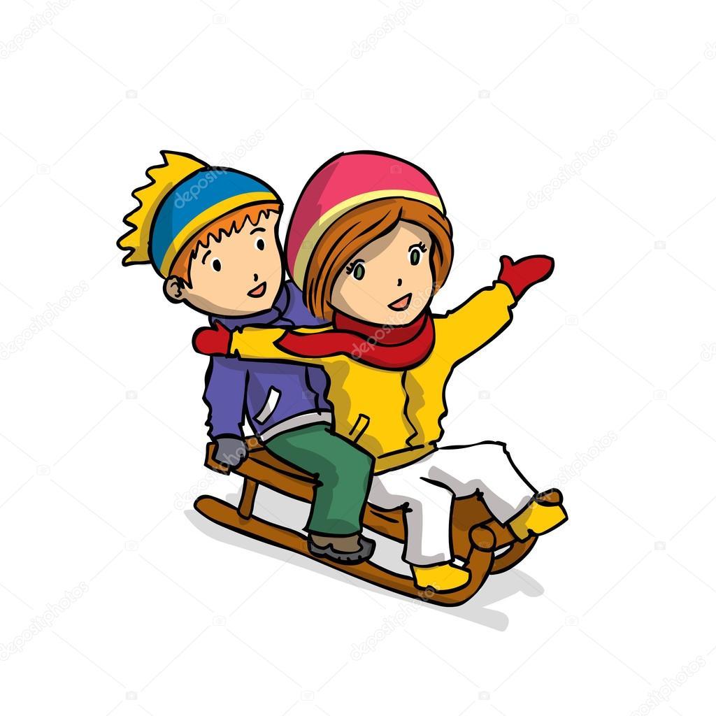 Helt nya Barn pulka i snön — Stock Vektor © dergriza #107723640 QX-27