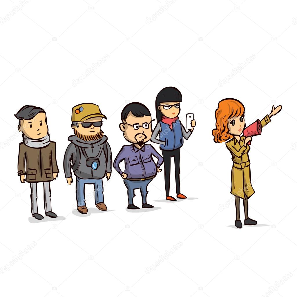 Tour Guide With Group Of Tourists Stock Vector