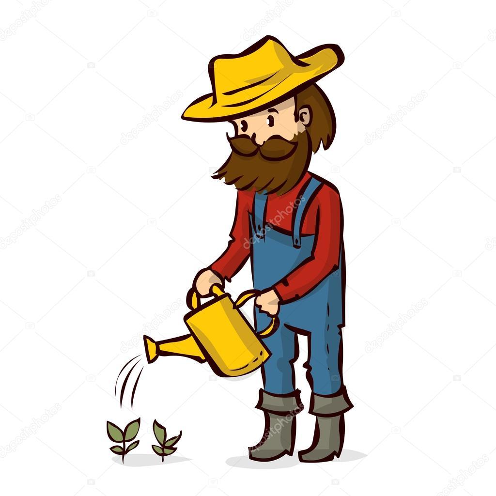 Agricultor De Desenhos Animados Regar Plantas Vetores